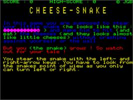 Title screen of Cheese-Snake on the Tangerine Oric.