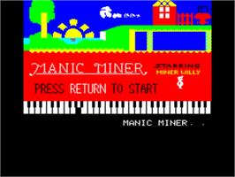 Title screen of Manic Miner on the Tangerine Oric.