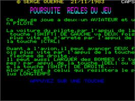 Title screen of Poursuit on the Tangerine Oric.