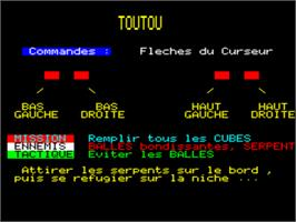 Title screen of Toutou on the Tangerine Oric.