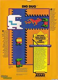 Box back cover for Dig Dug on the Texas Instruments TI 99/4A.