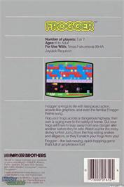 Box back cover for Frogger on the Texas Instruments TI 99/4A.
