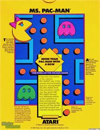 Box back cover for Ms. Pac-Man on the Texas Instruments TI 99/4A.