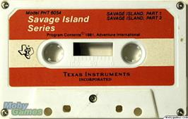 Cartridge artwork for Savage Island Series on the Texas Instruments TI 99/4A.