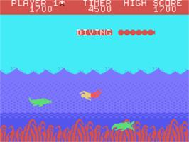 In game image of Jungle Hunt on the Texas Instruments TI 99/4A.