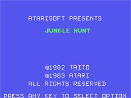 Title screen of Jungle Hunt on the Texas Instruments TI 99/4A.
