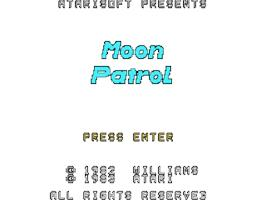 Title screen of Moon Patrol on the Texas Instruments TI 99/4A.