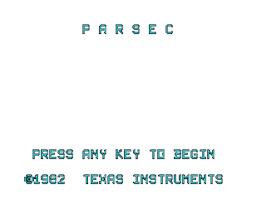 Title screen of Parsec on the Texas Instruments TI 99/4A.