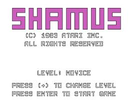 Title screen of Shamus on the Texas Instruments TI 99/4A.