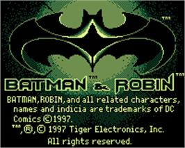 Title screen of Batman & Robin on the Tiger Game.com.