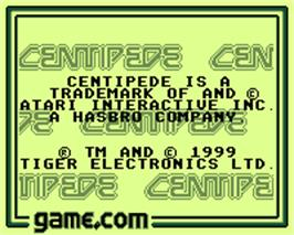 Title screen of Centipede on the Tiger Game.com.