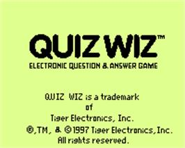 Title screen of Quiz Wiz - Cyber Trivia on the Tiger Game.com.