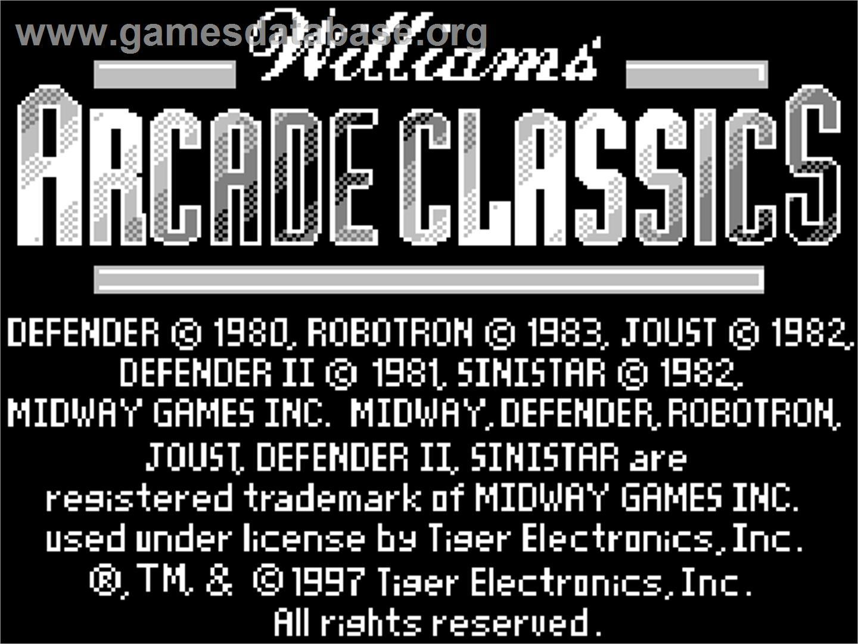 Williams Arcade Classics - Tiger Game com - Artwork - Title Screen