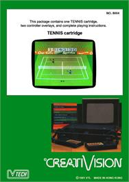 Box back cover for Tennis on the VTech CreatiVision.