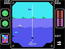 In game image of Air/Sea Attack on the VTech CreatiVision.