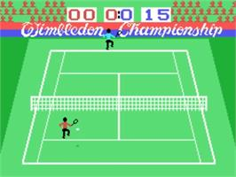 In game image of Tennis on the VTech CreatiVision.