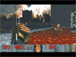 In game image of DOOM II on the Valve Steam.