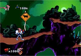 In game image of Earthworm Jim on the Valve Steam.