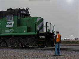 In game image of RailWorks SD40-2 Burlington Northern Add-on on the Valve Steam.