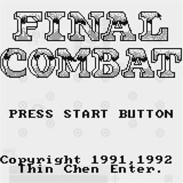 Title screen of Final Combat on the Watara Supervision.