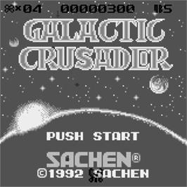 Title screen of Galactic Crusader on the Watara Supervision.