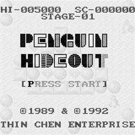 Title screen of Penguin Hideout on the Watara Supervision.