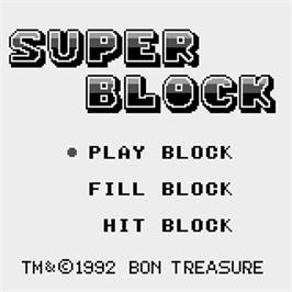 Title screen of Super Block on the Watara Supervision.